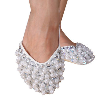 New Bling Diamond Rhinestone Peals Half Sole Sandal Lyrical Belly Dance Shoes NW
