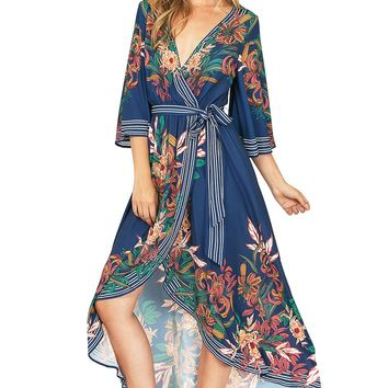 Midnight Bloom Wrap Dress