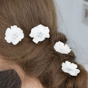 White silver  flower hair pins, Small hair flowers - set of 5, Wedding flowers, White brodal pins