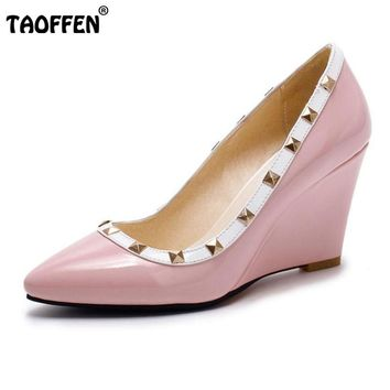 TAOFFEN Women Wedges High Heel Pumps Pointed Toe Rivets Brand Fashion Shoes Women Pumps Summer For Party Footwear Size 32-43
