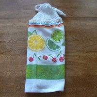 Lemon Lime Cherries Hanging Dish Towel With Hand Knit Topper and Ties
