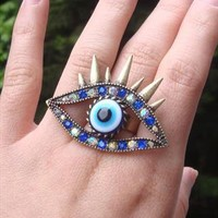 Spiky Blue Eyes Ring | PerfectPoppy | ASOS Marketplace