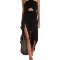 Black Tulip-Pant Cut-Out Halter Jumpsuit by Charlotte Russe