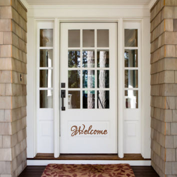 Welcome Front Door Vinyl Decal Personalized