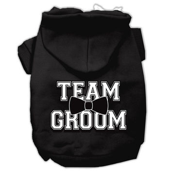 Team Groom Screen Print Pet Hoodies Black Size Lg (14)