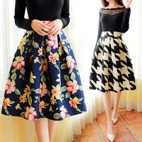 Korean fashion retro floral skirt pleated skirts women skirts floral pleated skirt = 1946941892