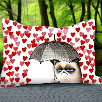 "Cute Love Heart Grumpy Cat Custom Pillow Case 30"" x 20"""