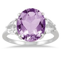 3.75 Carat Amethyst and White Topaz Ring in .925 Sterling Silver