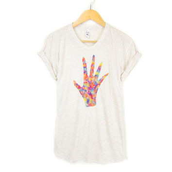 Hand Print - STENCILED Deep Crew Neck Pinned Rolled Cuffs Women's Tee in Heather Oatmeal and Multi Rainbow - S M L XL 2XL 3XL