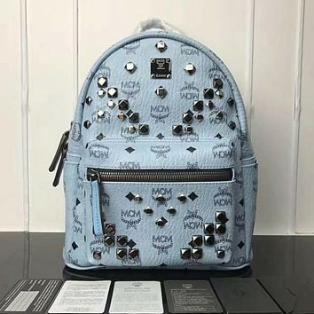 MCM Unisex Light Blue Medium Stark Visetos Backpack Bag