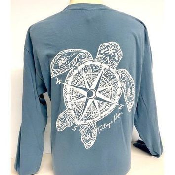 Southern Attitude Tortuga Moon Compass Turtle Comfort Colors Long Sleeve T-Shirt