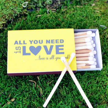 """50 Personalized """"All You Need Is Love"""" Matches - Only 1.00 each"""