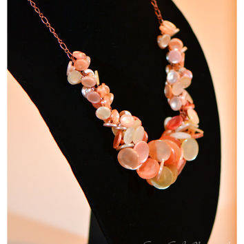 Vintage button statement necklace, peach & cream, chunky, handmade, bold retro style, lucite, copper, women's jewelry