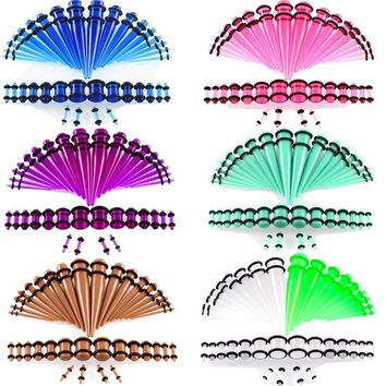 36pcs/lot Acrylic Taper Ear Expansion Multicolor Body Jewelry Acrylic Ear Flesh Tunnel Ear Stretching Gauge Kit Flared Piercing