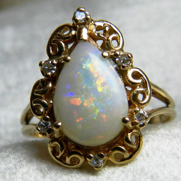 Opal Engagement Ring 1.75 Ct 14K Opal Diamond Ring Vintage Australian Pear Shaped Opal Ring Genuine Opal Ring October Birthday Gift