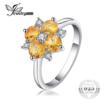 JewelryPalace 2ct Orange Round Cut Created Sapphire Flower Ring 925 Sterling Silver Fashion Party Fine Jewelry Best Friend Gift