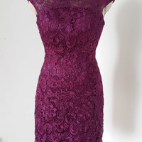 2015 Cap Sleeves V-back Grape Lace Short Bridesmaid Dress