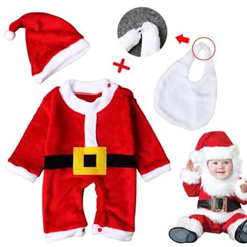 Winter Kids Baby Red Christmas Clothes Santa Claus Cosplay Costumes for Little Baby Kids Child Birthday Clothes with Hat Bag