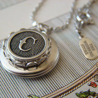 Bridesmaids Locket, Personalized Locket, Choose Your Letter - Antique Silver