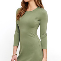 Perfectly Posh Olive Green Long Sleeve Dress