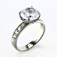 A Perfect 4CT Round Cut Brilliant Russian Lab Diamond Antique Setting Engagement Ring