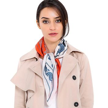 Women Striped Square Scarf Printed Pattern Head Wrap Hostess Ladies Office Kerchief Neck Shawl High quality scarves