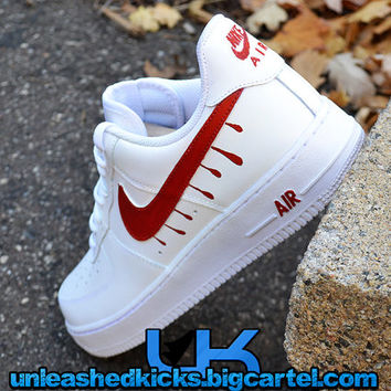 Custom Drip Nike Air Force 1s Red from UnleashedKustoms on Etsy 32d72e0a3929
