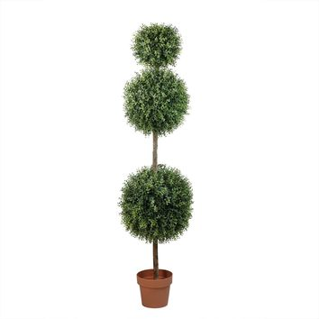 5' Potted Two-Tone Artificial Boxwood Triple Ball Topiary Tree