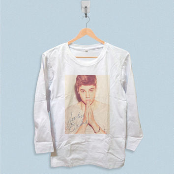 Long Sleeve T-shirt - Justin Bieber with Signature