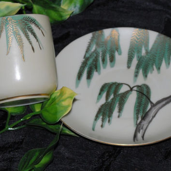 Hand Painted Asian Teacup and Saucer, Vintage Oriental Demitasse Japan Porcelain Teacup and Saucer Willow Tree Design, Asian