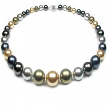 Multi Color Gold Grey Olive Graduated Strand Collar Necklace Pearl