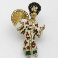 Rare CINER Figural Asian Oriental Geisha Brooch Pin