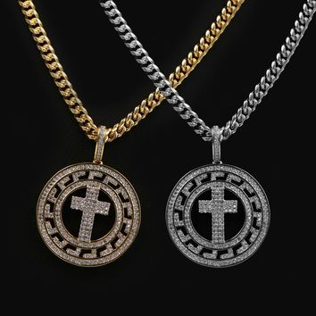 "Iced Out 14K Pt Gold Medallion Cross Brass Pendant W/5mm 24"" 30"" Cuban Chain"