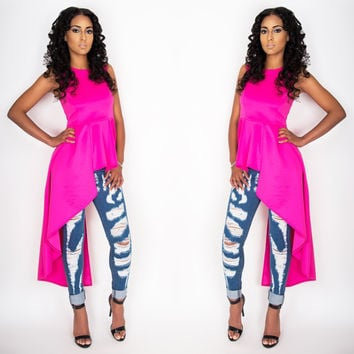 Waterfall Peplum Top Hot Pink