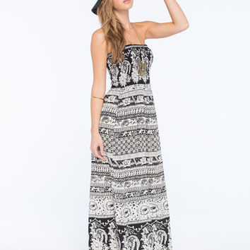Angie Boho Print Smocked Maxi Dress Black  In Sizes