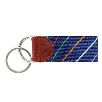 Carter Stripe Needlepoint Key Fob in Classic Navy by Smathers & Branson