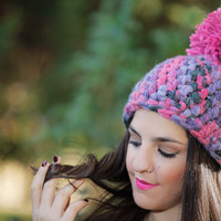 Pom Pom Crochet Beanie, Brilliant Rose Pink Pom Pom, Warm, Chunky, Fluffy.