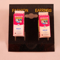 Organic Milk Carton Earrings  - 1 in - pierced