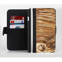 The Knobby Raw Wood Ink-Fuzed Leather Folding Wallet Credit-Card Case for the Apple iPhone 6/6s, 6/6s Plus, 5/5s and 5c