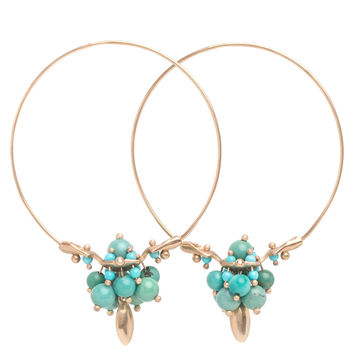 Ted Muehling Chinese Turquoise Cluster Hoop Earrings