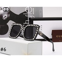 GUCCI tide brand women's diamonds wild big box color film polarized sunglasses #6