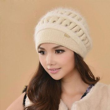 LMF9GW Women Winter Hats Female Beanies Thicken Knitted Wool Hat Thermal Rabbit Fur Cap Casual Earmuffs Caps Gorros