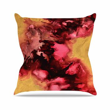 """Claire Day """"Eloquent"""" Maroon Gold Abstract Painting Outdoor Throw Pillow"""