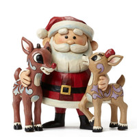 Enesco Jim Shore Rudolph Traditions Santa Hugging Rudolph & Clarice NIB 4047940