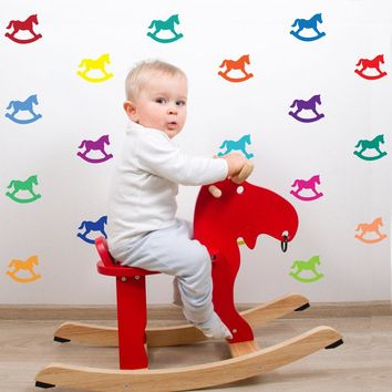 33 Miniature Bright Multi-color Rocking Horse Wall Decals
