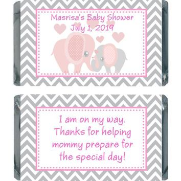 18 Pink Elephant Baby Shower Miniature Chocolate Bar Wrappers