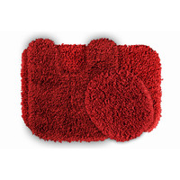 Serenity Washable Deep Red Bath Rug (Set of 3)