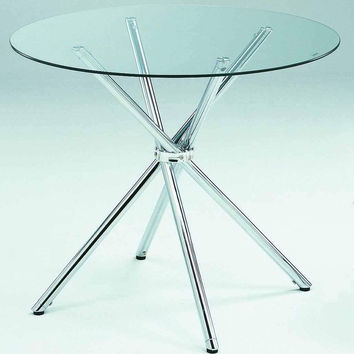Modern Tempered Glass Top Dining Table with Chrome Plated Base