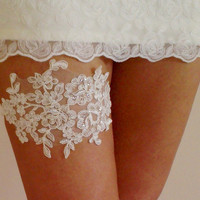 Free Ship Sequined ivory french lace wedding garter belt