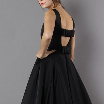 Glam Black Open Back Dress with Bow Decor